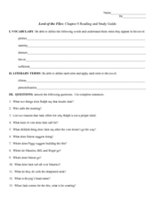 Reading and Study Guide: Lord of the Flies Chapter 8 Worksheet