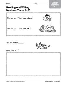 Reading and Writing Numbers Through 50 ESL Worksheet