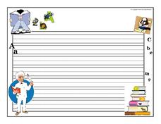 Reading And Writing Themed Blank Lined Paper With Primary Lines Printables & Template