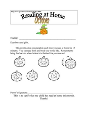 Reading At Home Worksheet