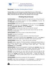 Reading: Climbing Mount Everest Worksheet