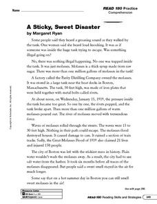 Reading Comprehension: A Sticky, Sweet Disaster Worksheet