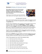 Reading Comprehension: An Astronaut's Journal Worksheet