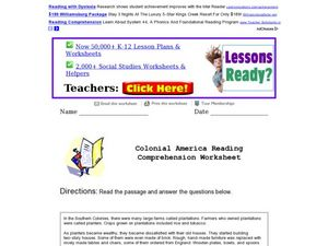 Reading Comprehension: Colonial America Worksheet