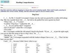 Reading Comprehension: Dog Face Worksheet