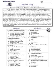 math worksheet : reading comprehension  informational passages quot;movie ratings  8th  : Reading Comprehension With Multiple Choice Questions Worksheets