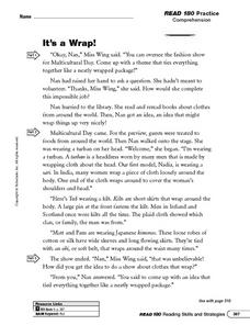 Reading Comprehension: It's a Wrap! Worksheet