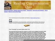 Reading Comprehension Quiz: Friendship Worksheet