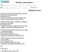 "Reading Comprehension: ""Thankful to Know"" Worksheet"