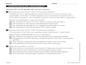 Reading Comprehension: The Community Garden Worksheet