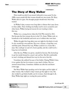 Reading Comprehension: The Story of Mary Walker Worksheet
