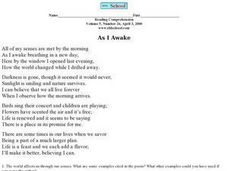 Reading Comprehension- The Use of Senses in Poetry Worksheet