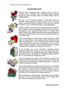 reading comprehension valentine 39 s day 3rd 4th grade worksheet lesson planet. Black Bedroom Furniture Sets. Home Design Ideas