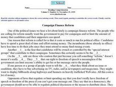 Reading Comprehension Volume 5, Number 11 : Campaign Finance Reform Worksheet