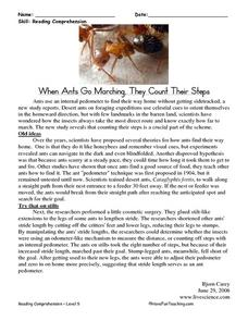 Reading Comprehension: When Ants Go Marching, They Count Their Steps Worksheet
