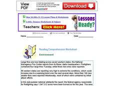 Reading Comprehension Worksheet: Environment Worksheet