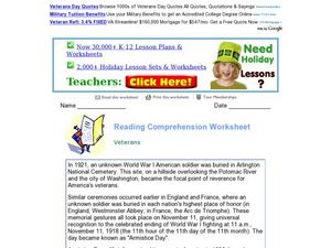 Reading Comprehension Worksheet  Veterans Worksheet