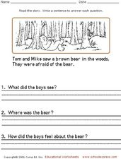 Reading Comprehension: Writing Sentences Worksheet