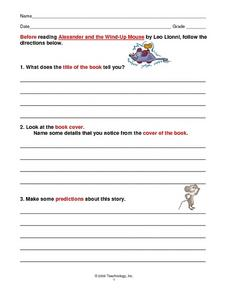 "Reading Guide For Leo Lionni's, ""Alexander and the Wind-Up Mouse"" Worksheet"