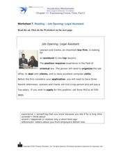 Reading: Job Opening- Legal Assistant Worksheet