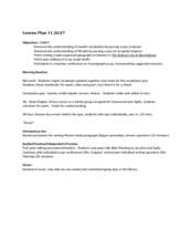 Reading Lesson Lesson Plan