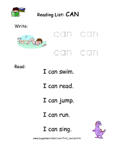 Reading List: Can Worksheet