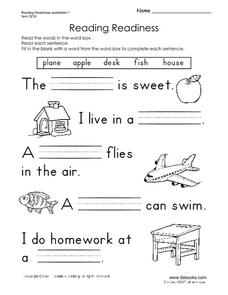 Reading Readiness Pre-K - 1st Grade Worksheet | Lesson Planet