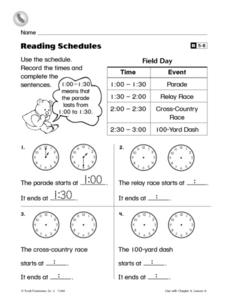 Reading Schedules and Writing Times to The Half Hour Worksheet