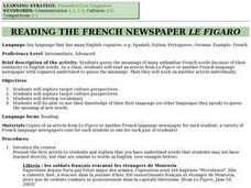 Reading the French Newspaper Le Figaro Lesson Plan