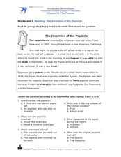 Reading: The Invention of the Popsicle Worksheet