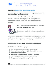 Reading: The Same Things Every Day Worksheet