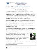 Reading: The Wolong Nature Reserve Worksheet