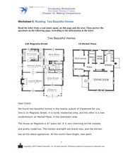 Reading: Two Beautiful Homes Worksheet