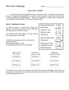 Real Life Challenge- Give Me Credit! Worksheet