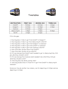 Real Life Math Word Problems: Reading a Bus Schedule Worksheet