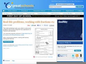 math worksheet : real life problems working with fractions 2 4th  5th grade  : Working With Fractions Worksheet