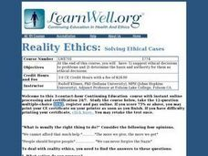 Reality Ethics Lesson Plan