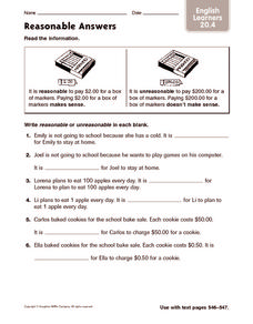 Reasonable Answers: English Learners Worksheet