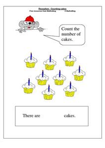 Reception: Counting cakes Worksheet