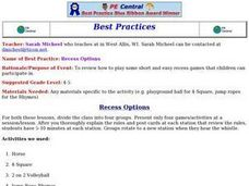 Recess Options Lesson Plan