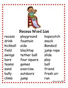 Recess Word List Worksheet