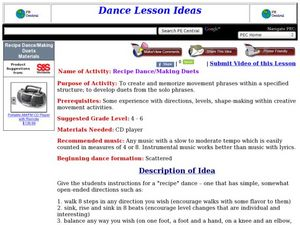 Recipe Dance/Making Duets Lesson Plan