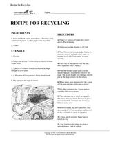Recipe For Recycling Worksheet