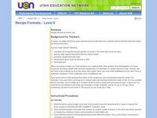 Recipe Formats - Level II Lesson Plan