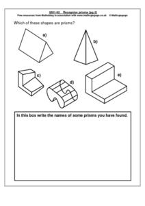 Recognize Prisms Worksheet