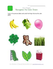Recognize the Color Green Worksheet
