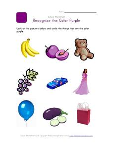 Recognize the Color Purple Worksheet