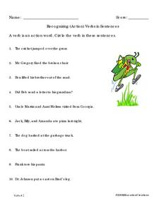 Recognizing (action) Verbs in Sentences Worksheet