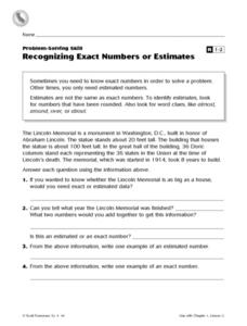 Recognizing Exact Numbers or Estimates Worksheet