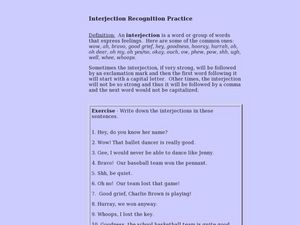 Recognizing Interjections Lesson Plan